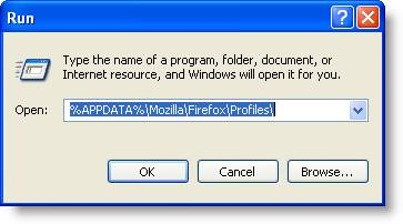 Screenshot of Windows XP, showing where to locate missing Firefox bookmarks in the user profile.